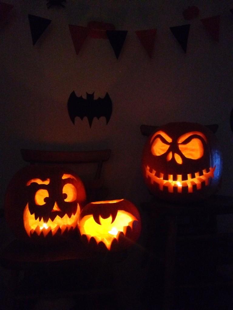 a family of pumpkins