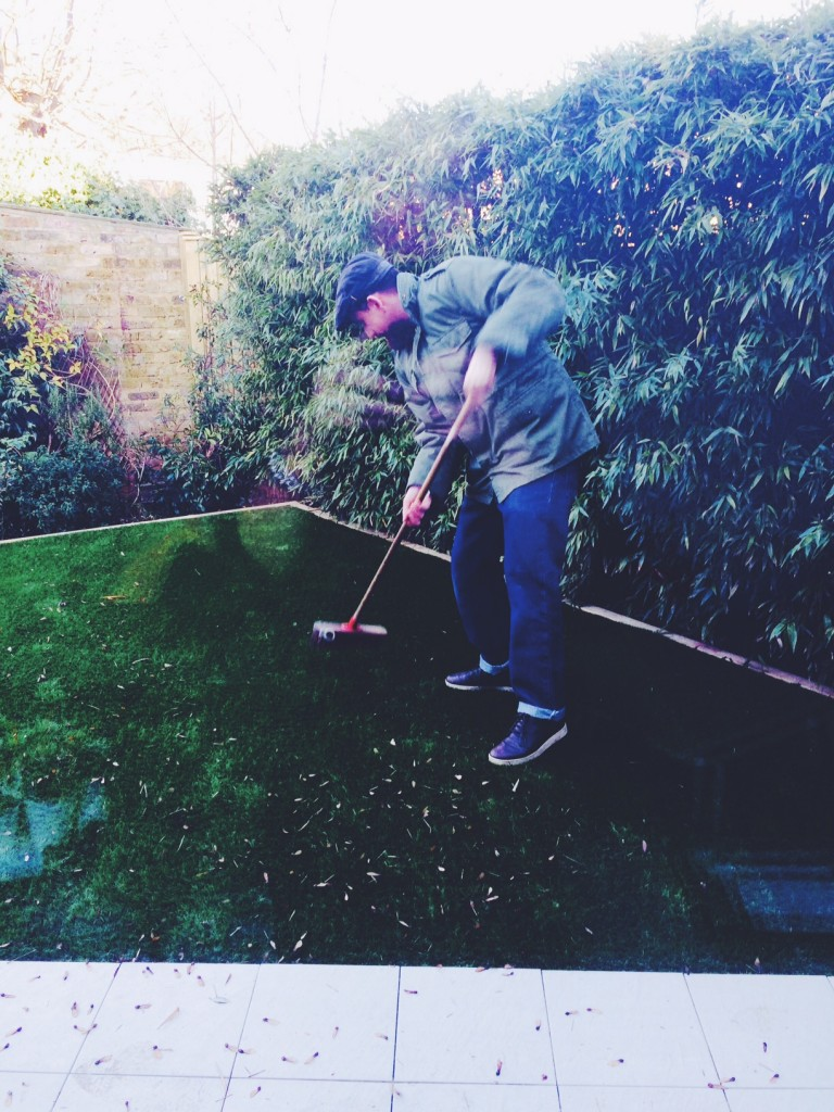 just sweeping the lawn