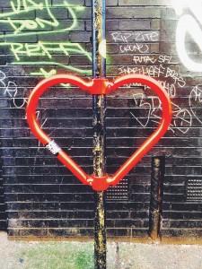 redchurch street lamp post heart